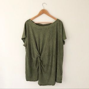 Anthropologie Green Twist Top